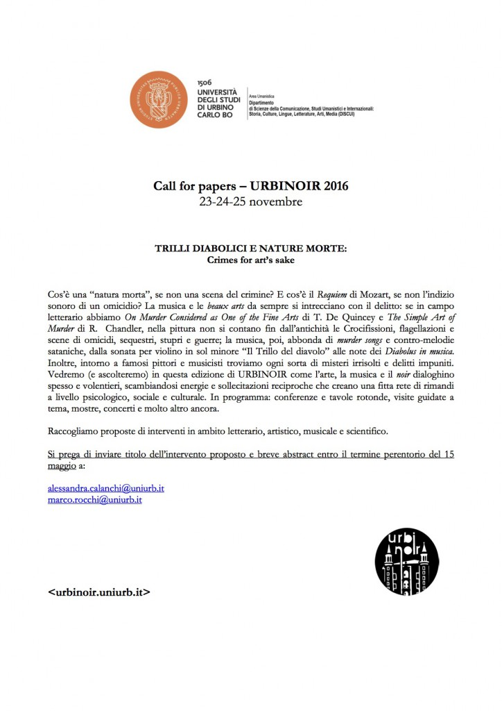Call for papers 2016 Urbinoir